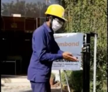 Maintenance helper, from Dudhwada, Gujarat plant made the hand sanitizer dispenser
