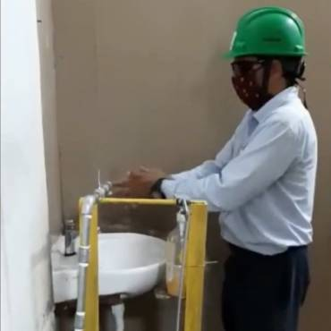 Handsfree Soap and Water dispenser Designed by our Maintenance Manager